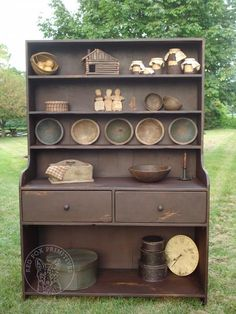 Vintage Farmhouse Decor Farm House Buttery - Great display piece for your dining room Features two large working drawers. Each one will vary in exact color and distressing like the picture D Made by Red Fox Primitives, Pennsylvania, USA