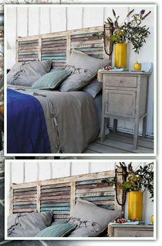fabriquer-pas-cher-chambre-a-coucher. Pallett Headboard, Bed Design, House Design, Feng Shui, Interior Architecture, Interior Design, Bedroom Loft, Diy Bed, Home Textile