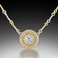 Disc Necklace - 18K White Gold, 22K Yellow Gold Granulation, Diamonds by Cornelia Goldsmith