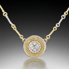 Disc Necklace - 18K White Gold, 22K Yellow Gold Granulation, Diamonds by Cornelia Goldsmith