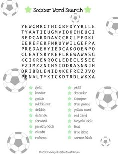 Soccer Word Search for Kids
