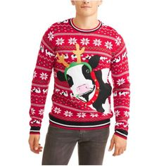 Santa Cow Men's Ugly Christmas Sweater, Red
