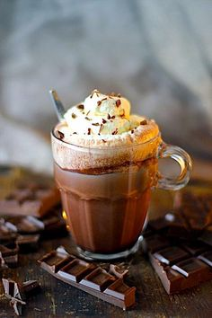 Hot cocoa--chocolate topped with whipped cream. Yummy Drinks, Yummy Food, Café Chocolate, Chocolate Heaven, Homemade Hot Chocolate, Chocolate Desserts, Kakao, Dairy Free, Sweet Treats