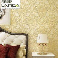 European gold embossed nonwoven neutral wallpaper
