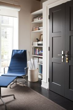 black doors, built-in shelves