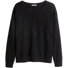 H&M Cashmere jumper ($77) ❤ liked on Polyvore featuring tops, sweaters, shirts, jumpers, black, jumper shirt, long sleeve tops, black cashmere sweater, black sweater and black top