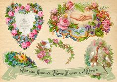 Victorian Frames - Wreaths with doves and flowers2 by rosepeonie.deviantart.com on @DeviantArt