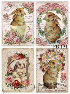 ~ Shabby Chic Vintage Easter Bunnies Roses Tea Cup 4 Prints on Fabric FB 151 ~ Vintage Birds, Vintage Easter, Vintage Images, Vintage Greeting Cards, Vintage Ephemera, Bunny Images, Illustration Art, Illustrations, Bunny Art