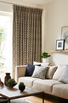 Black patterned bespoke curtains in the lounge - Harran black Black Curtains, Curtains With Blinds, Patterned Curtains, Lounge Curtains, House Blinds, Made To Measure Curtains, Curtain Patterns, Drawing Room, Victorian Homes