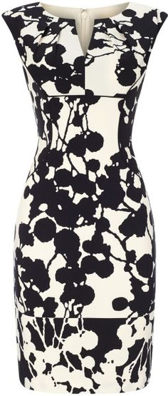 Adrianna Papell Printed Sheath Dress in Black