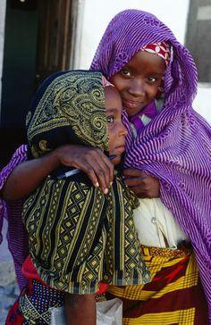 Makua girls in lower bairro, or precinct, Nampula, Mozambique Island, Mozambique