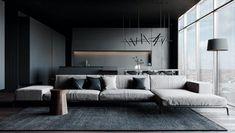 Shaping Slick Dark Interiors With Black & Grey Decor Black Interior Design, Bathroom Interior Design, Interior Design Living Room, Luxury Interior, Decoration Gris, Living Room Grey, Living Rooms, Dark Interiors, House Design