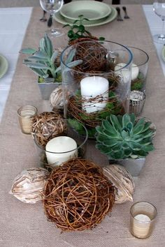 """""""Such a simple but lovely look. So easy to recreate."""" Love these centerpieces! Would be perfect for our rustic cabin-camp in the woods, Colorado summer wedding. Succulents <3!"""