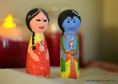 Wooden peg dolls - Hand painted Krishna and Radha