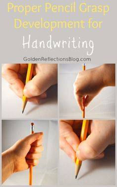 Typical Pencil Grasp Development for Kids Proper Pencil Grasp Development for Handwriting in Children Learning To Write, Early Learning, Kids Learning, Learning Support, Learning Resources, Pre Writing, Writing Skills, Hand Writing, Writing Practice