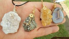 Wire wrapped Celestial aura crystal Pyrite, Citrine and agate geode clusters. R80, Agate Geode, Crystal Pendant, Wire, Pendants, Celestial, Drop Earrings, Crystals, Jewelry