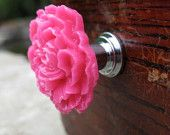 Peony Flower Drawer knobs in Hot Pink, more COLORS available $5.50