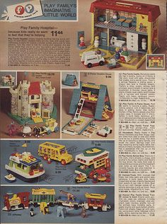 1976 JCPenny Christmas Catalog page 356 - Fisher-Price Little People Fisher Price Toys, Vintage Fisher Price, Retro Toys, Vintage Toys, 1980s Toys, Antique Toys, Vintage Stuff, Childhood Toys, Childhood Memories