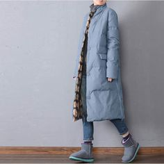 BUYKUD-Women winter long warm down jacket - Buykud Cold Weather Outfits, Warm Outfits, Winter Outfits, Down Parka, Down Coat, Winter Jackets Women, Coats For Women, Mature Fashion, Winter Coat