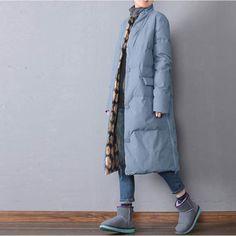 Women winter long warm down jacket - Buykud