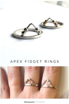 I'm finally getting around to listing another couple of original fidget rings into the store...these are the new Apex fidget rings. They are an original creation that might help when feeling anxious or stressed, by providing a way to manage in a discreet, stylish way, click the pic to check them out 😀 #apexfidgetring #fidgetrings #stackingring #stressrelief #anxietyrelief #statementrings #renascentstudos #anxietyjewelry #fidgetjewelry #mindfulness #meditationjewelry #handmadejewelry Layered Jewelry, Trendy Jewelry, Handmade Jewelry, Women Jewelry, Unique Jewelry, Latest Jewellery, Crystals And Gemstones, Statement Rings, Gemstone Jewelry