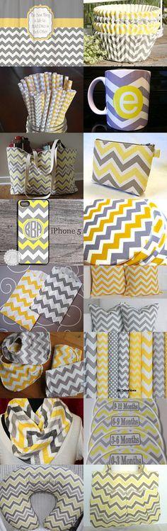 Yellow & Grey item with a chevron pattern. Loving this pattern! Yellow Chevron, Grey Yellow, Chevron Patterns, D Craft, Baby Boy Nurseries, Diy Painting, Color Inspiration, Chevron Crafts, Fall Decor