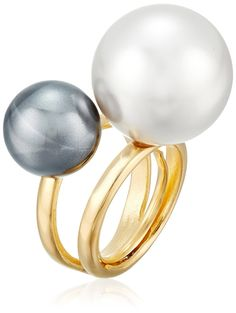 Kenneth Jay Lane Gold-Tone Band and Double Pearlescent Ball Adjustable Ring *** Visit the image link more details.