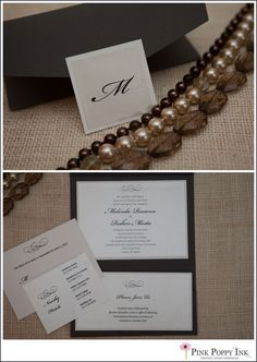 Dark grey, champagne and white pocketfold invitation