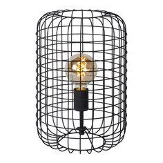 Esmee - table lamp - ø 26 cm - - black Led, Fire Basket, Black Table Lamps, Industrial Lighting, Lamp Bases, Bird Cage, Hanging Lights, Floor Lamp, Light Bulb