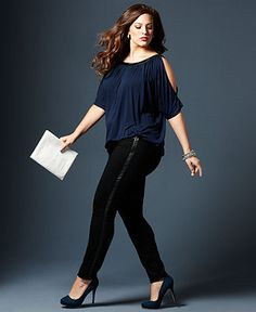 Fall Trend Report Plus Size Look of Leather Blouse & Skinny-Leg Pants - Fall Style Source 13 - Plus - Macy's