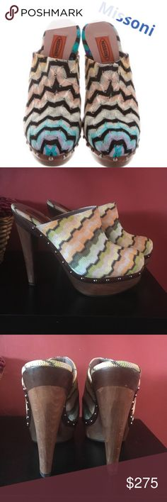 Authentic Missoni heels👠 BEAUTIFUL vibrant authentic Missoni wood 5.5 inch heels made in Italy NWT 👠 Wear with jeans or skirt, fun n flirty. Missoni Shoes Heels