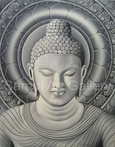 Natural Limestone Buddha Oil on Canvas Painting. $135.00