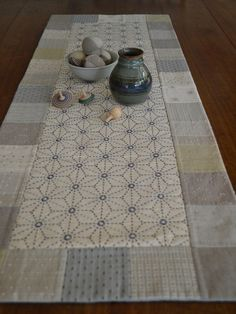 Sashiko Tablerunner Kit. Have just discovered this craft of Japanese embroidery. How lovely.