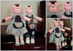 Casal Porca e Porco confeccionados em tecido 100% algodão e algodão cru. Cor à escolha do cliente. Preço referente ao casal. R$ 95,00