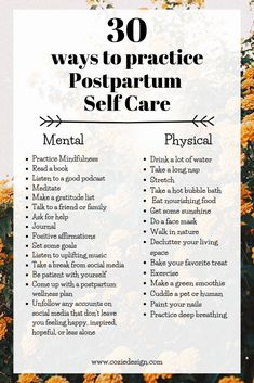 30 ways to practice postpartum self care. Pursuing wellness before, during, and after pregnancy. Care During Pregnancy, Happy Pregnancy, Post Pregnancy, After Pregnancy, Ectopic Pregnancy, Pregnancy Belly, Postpartum Anxiety, Postpartum Care, Postpartum Recovery