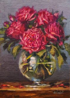 "Dark Pink Roses in Glass,  Oil on 5""x7"" Linen Panel Still Life Oil Paintings by Carolina Elizabeth"