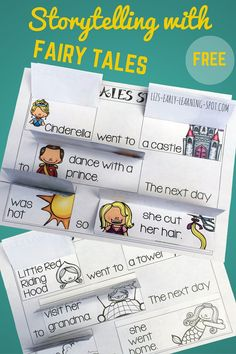 Storytelling with Fairy Tales -This printable uses a (very) short story from The Little Mermaid, Little Red Riding Hood, Cinderella and Rapunzel