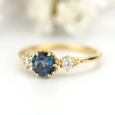 Colored Engagement Rings, Diamond Cluster Engagement Ring, Unique Diamond Engagement Rings, Cushion Cut Engagement Ring, Alternative Engagement Rings, Unique Rings, Rings With Meaning, Three Stone Rings, London Blue Topaz