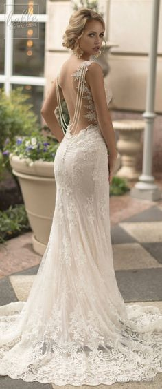 Naama and Anat Wedding Dress Collection 2019 - Dancing Up the Aisle - PASODOBLE an elegant lace fitted off the shoulder sweetheart neckline bridal gown with plunging back, hanging pearls and train #weddingdress #weddingdresses #bridalgown #bridal #bridalgowns #weddinggown #bridetobe #weddings #bride #weddinginspiration #weddingideas #bridalcollection #bridaldress #fashion #dress See more gorgeous wedding gowns by clicking on the photo