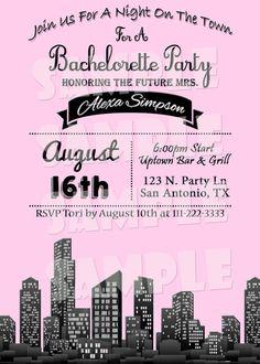 Printable BACHELORETTE PARTY INVITATION - Night Out On The Town Bachelorette Themed Party Invitation - Bachelorette Party Invite