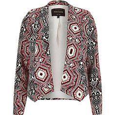 Blazer imprimé rouge drapé - Blazers - Manteaux/vestes - femme