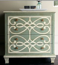 stenciled dresser as a nightstand