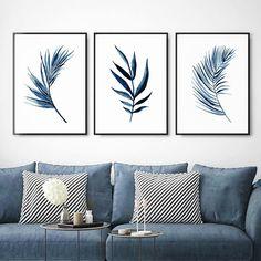Set of 3 Navy Blue Palm Leaves watercolor Digital Print Blue Home Decor, Office Art, Bedroom Art, Picture Wall, Wall Design, Wall Art Decor, Digital Prints, Canvas Art, Gallery Wall