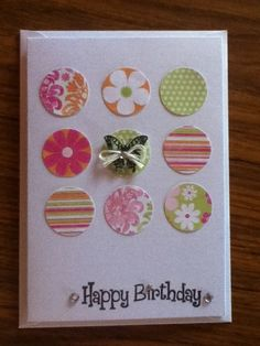 One of the easiest but cutest cutes you can make. Homemade Birthday Cards, Happy Birthday Cards, Homemade Cards, Butterfly Cards, Flower Cards, Cricut Cards, Greeting Cards Handmade, Easy Handmade Cards, Card Sketches