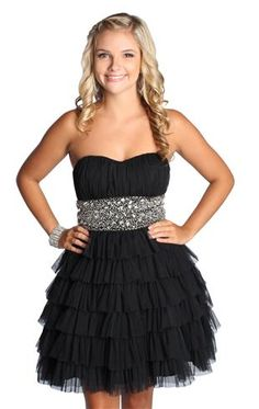 beaded strapless homecoming dress with ruffles