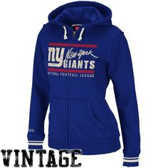 NFL Mitchell & Ness New York Giants Ladies Vintage Full Zip Hoodie - Royal Blue Mitchell & Ness. $89.95