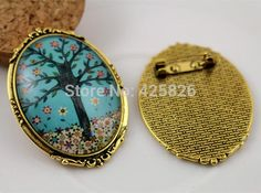 New Fashion  2pcs 30x40mm Inner Size Antique Gold  Pin Brooch Flowers Style  Base Setting Pendant (B3-01)