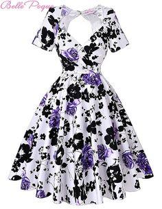 Short Sleeve Rockabilly Dresses 50s 60s Style Pin Up Floral Women Summer Dress Plus Size Cotton Spandex Retro Dress BP000028 Alternative Measures