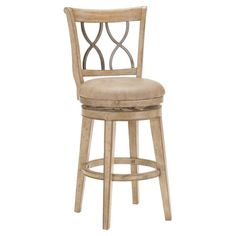 Counter stool with a wood frame and upholstered swivel seat.  Product: Counter stoolConstruction Material: Metal...