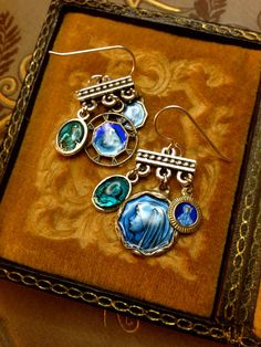 Hey, I found this really awesome Etsy listing at https://www.etsy.com/listing/221404160/blue-enamel-religious-medal-earrings